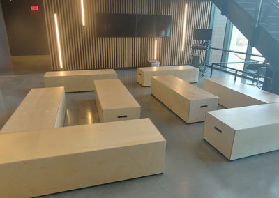 custom wood benches for office