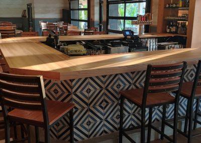 Indoor Bar Top. Ash edge grain