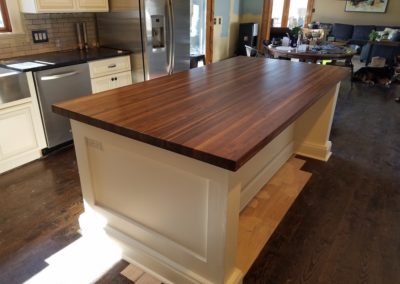 Island top walnut edge grain butcher block