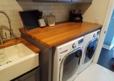 Laundry top Hickory edge grain butcher block