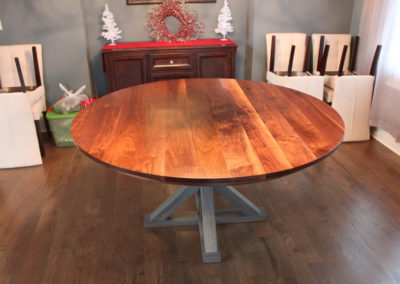 Round Walnut Table with Painted Legs