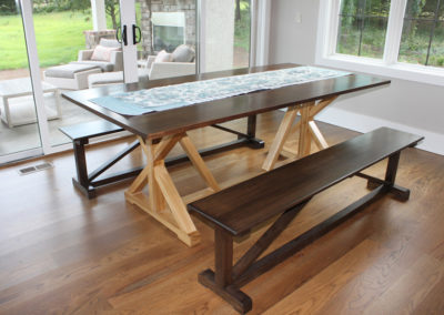 Walnut TopHickory Legs Dining Table Benches