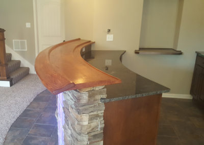 curved bar top Oak face grain plank stlye with drink rail