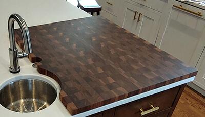 end grain countertop construction style