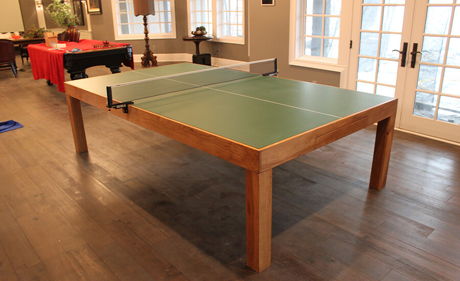 handmade wood gaming table for ping pong