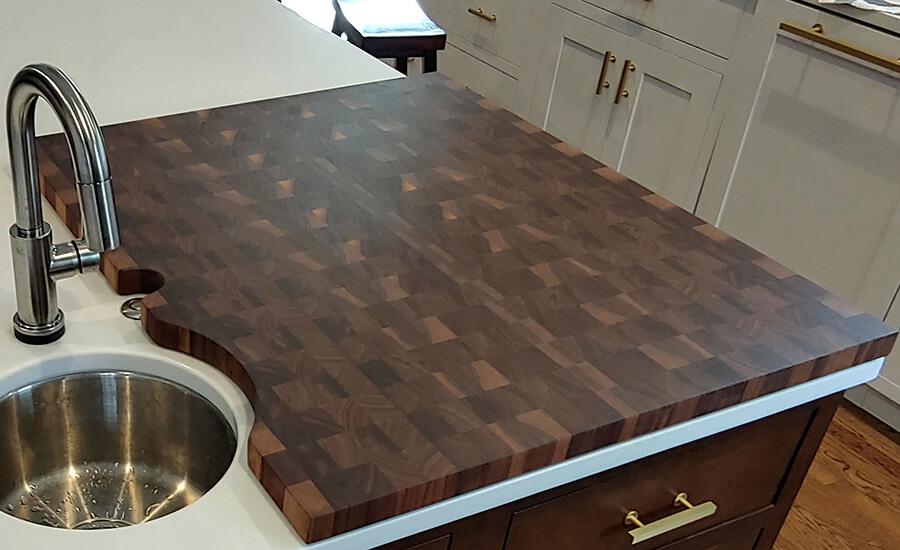 solid wood butcher block countertop